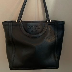 Tory Burch Serif T Black Leather Tote LARGE